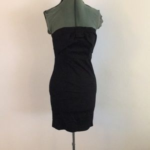 Strapless Black mini dress with bow detail